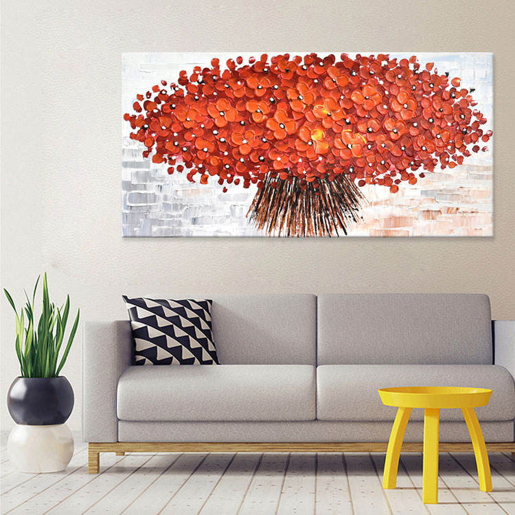 Hot New Decoration Impressionist handmade Abstract Flower Canvas Wall painting kids room 3d wall art
