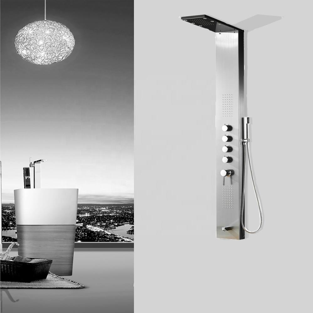 High Quality LED Shower Panel Tower System, Rainfall and Mist Head Rain Massage Jets Stainless Steel Shower Fixtures