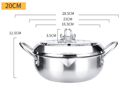 304 Stainless Steel Deep Frying Pot Tempura Deep Fryer Pot With Thermometer Oil Drip Drainer Rack