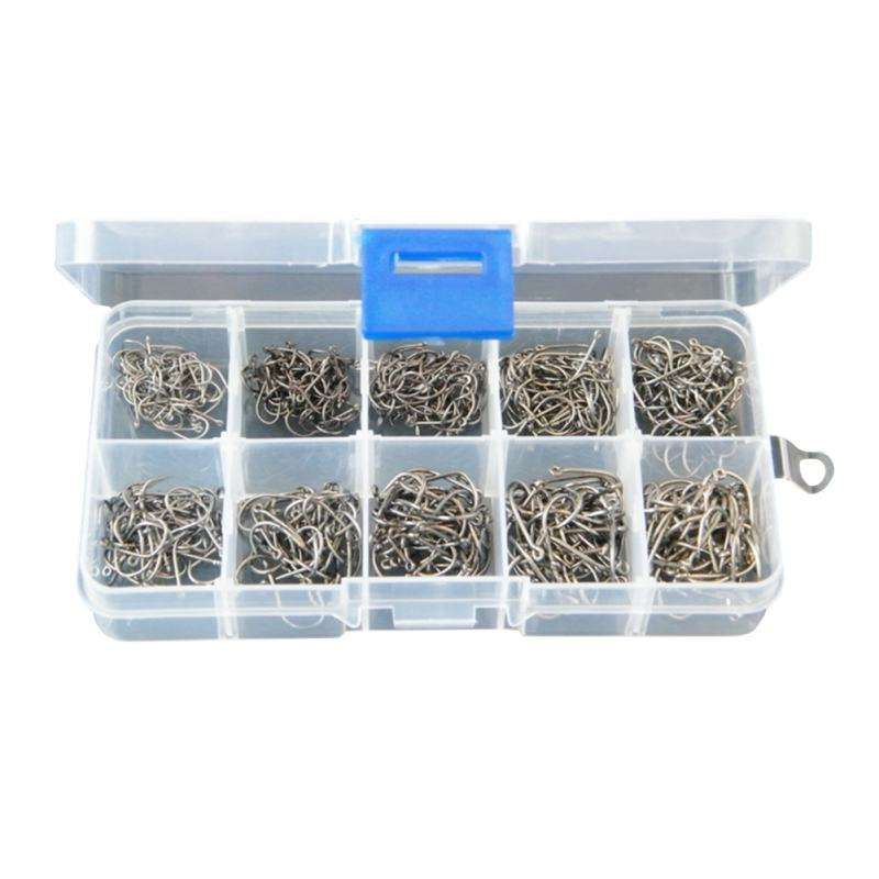 500pcs Barbed Hook Soft Lure Fishing Bait Fish Hooks Box Golden Black Sea River Fishing Accessories Durable Metal Fishing Hooks