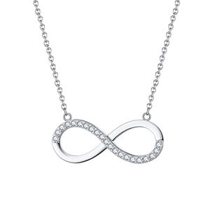 RINNTIN SN192 Fashion Gift Women Jewelry Brilliant CZ Infinity Pendant 925 Silver Necklace 2020