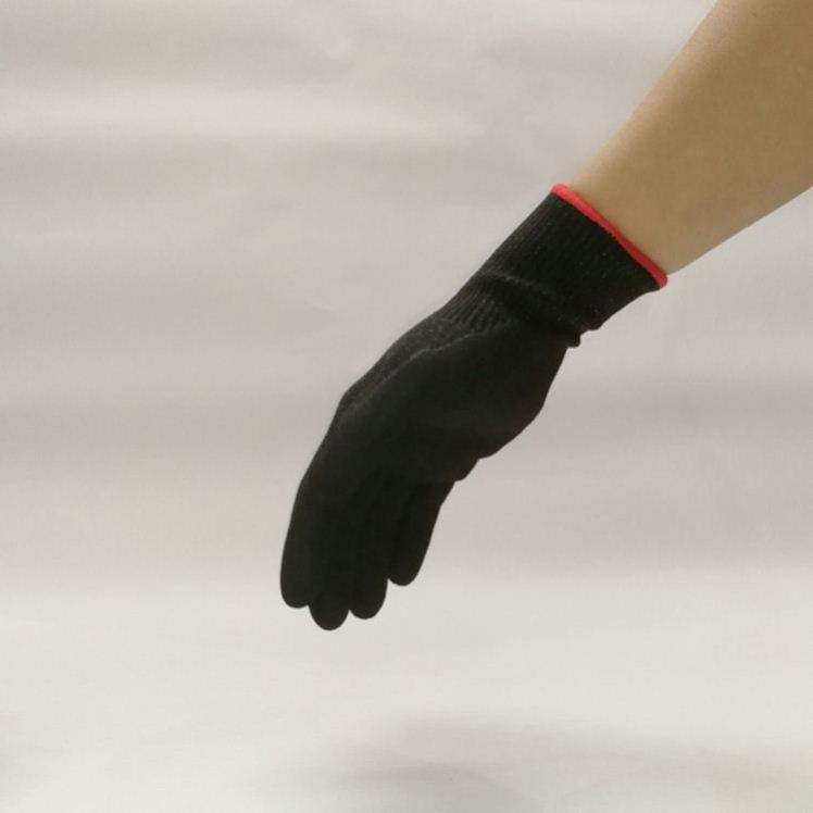 Nylon Knitted Glove with Black Ultrafine Nitrile Foam Coating and PVC Criss-cross on Palm and Elastic Knit Wrist/ EN388