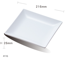 White modern restaurant food serving dessert dish melamine square dinner plates for buffet