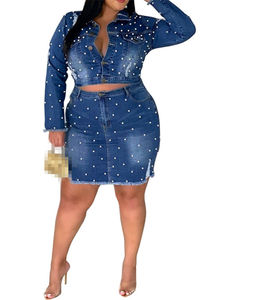 OY_19436 Wholesale Casual Dresses 2020 Plus Size Women Clothing Womens Denim Top and Skirt Set