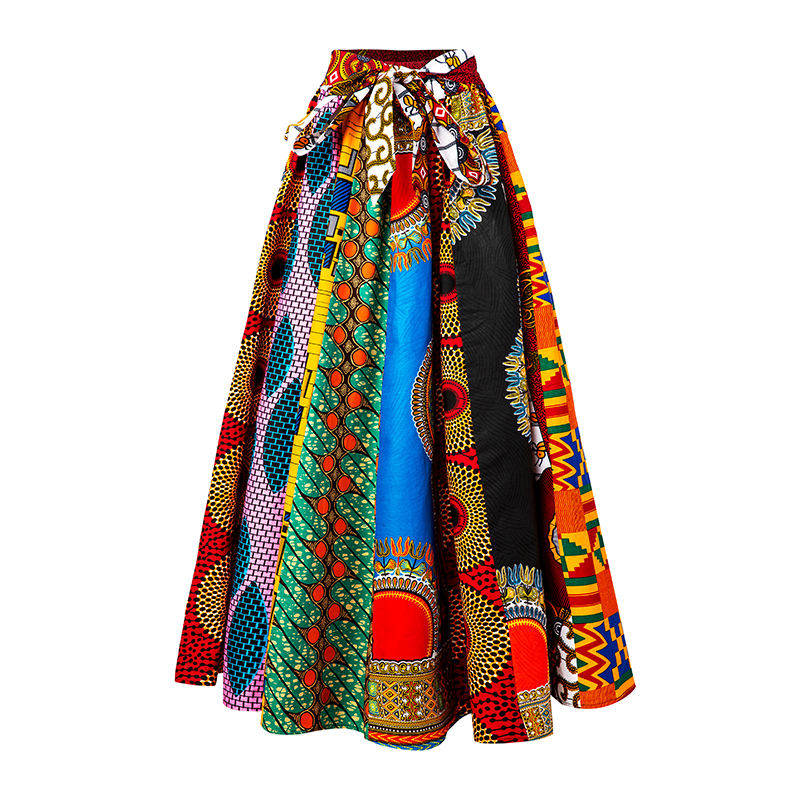 New fashion hot sell plus size patchwork sexy long african print women skirt