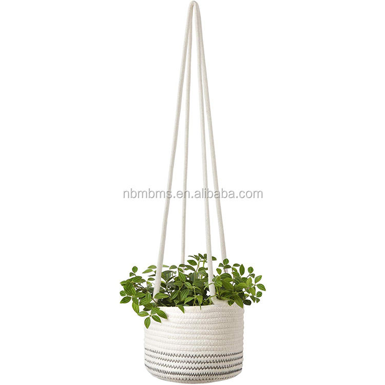 Cotton Rope Nursery Organizer QJMAX Hanging Storage Basket Small Cute Cotton Rope Baby Nursery Organizer For Toy Storage