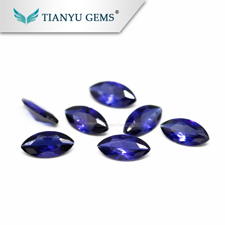 Tianyu Gems Wholesale synthetic Marquise Cut Blue Corundum #33 for jewelry maket