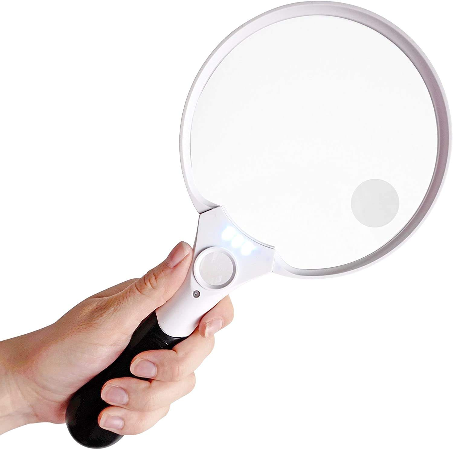5.5 inch Extra Large LED Handheld Magnifying Glass with Light - 2X 4X 25X Lens - Jumbo Size Illuminated Reading Magnifier