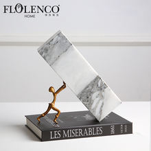 Novelty Home Decor Classic Art Office Interior Decoration Pushing Marble & Iron Ornament