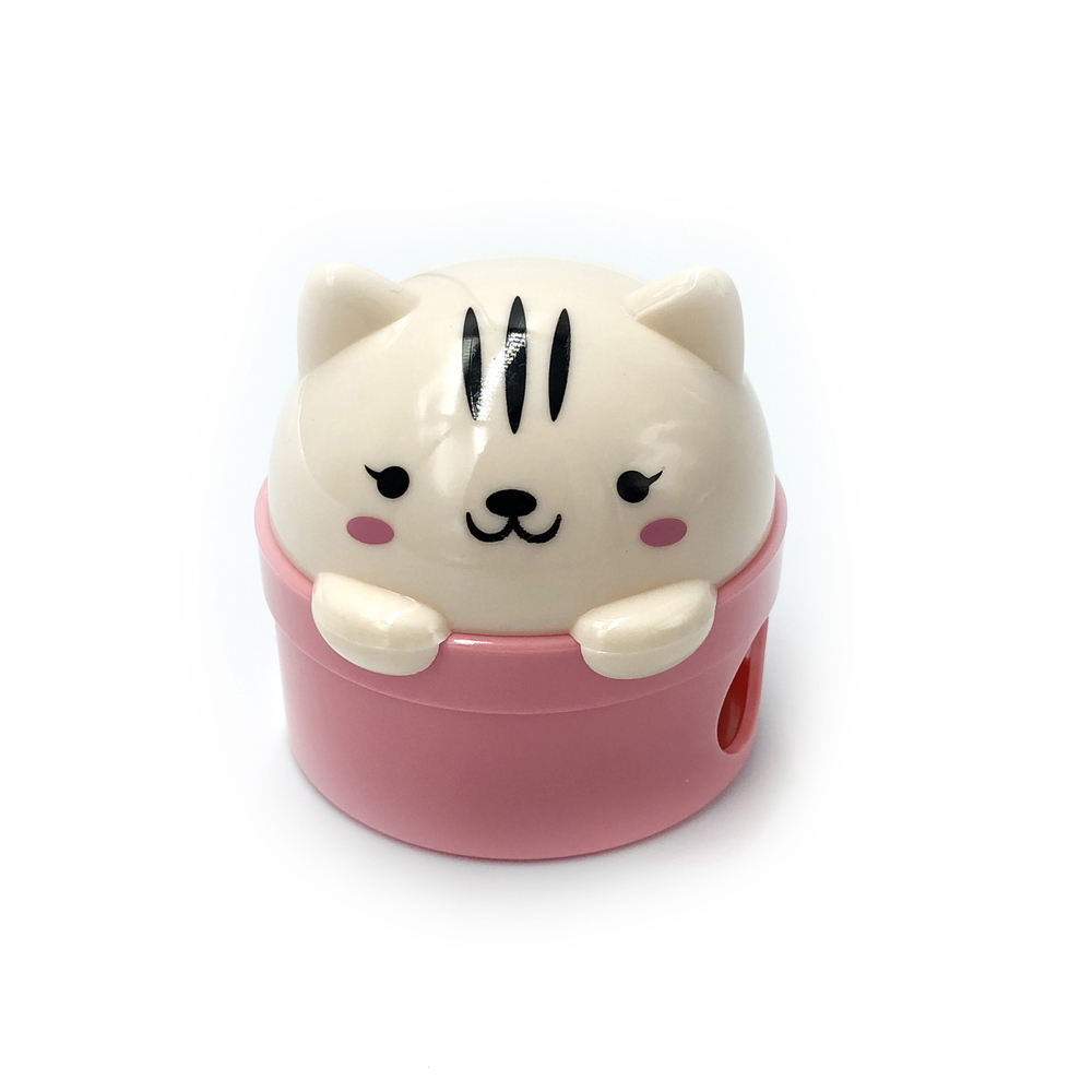 Pussy Cat Twin Hole Handheld Plastic Patented Design Cute Cartoon Pencil Sharpener