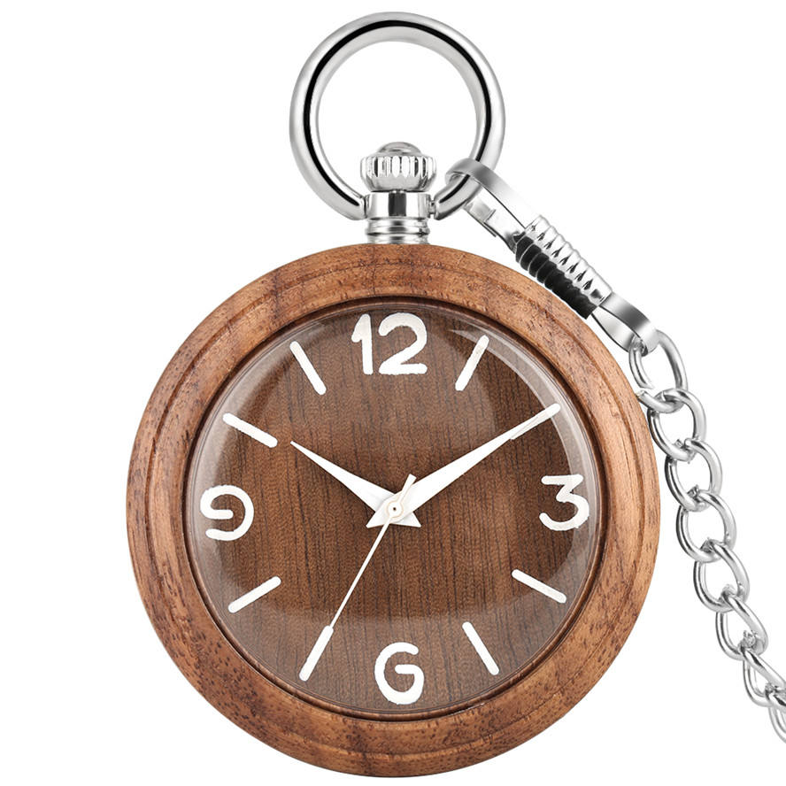Free Shipping Modern White Number Wooden Pocket Watch with Silver Watch Chain