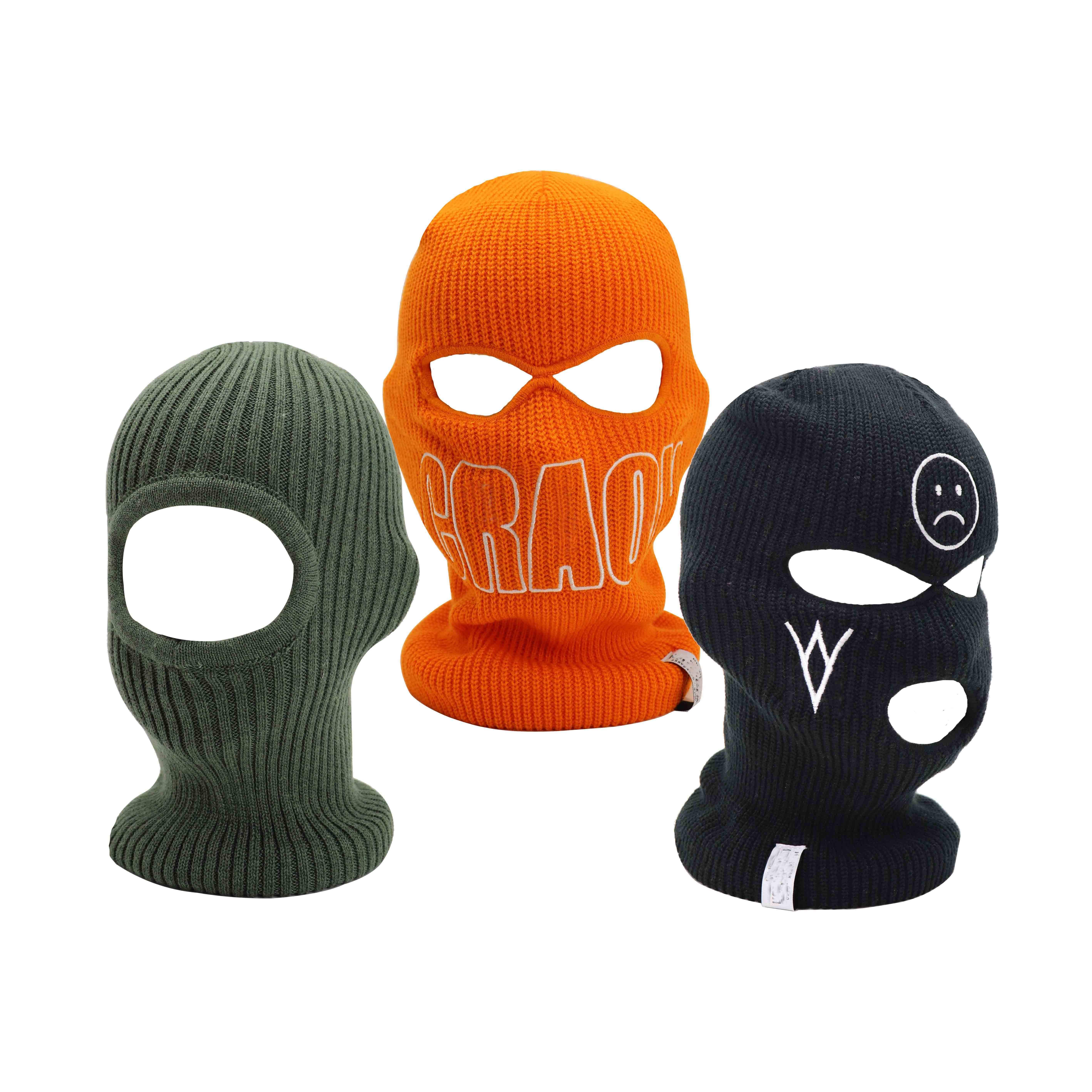Wholesale Acrylic Knitted Mens Sports skull Face 1 2 3 Three Hole Black Ski mask hood Embroidery Logo Neon Custom Balaclavas