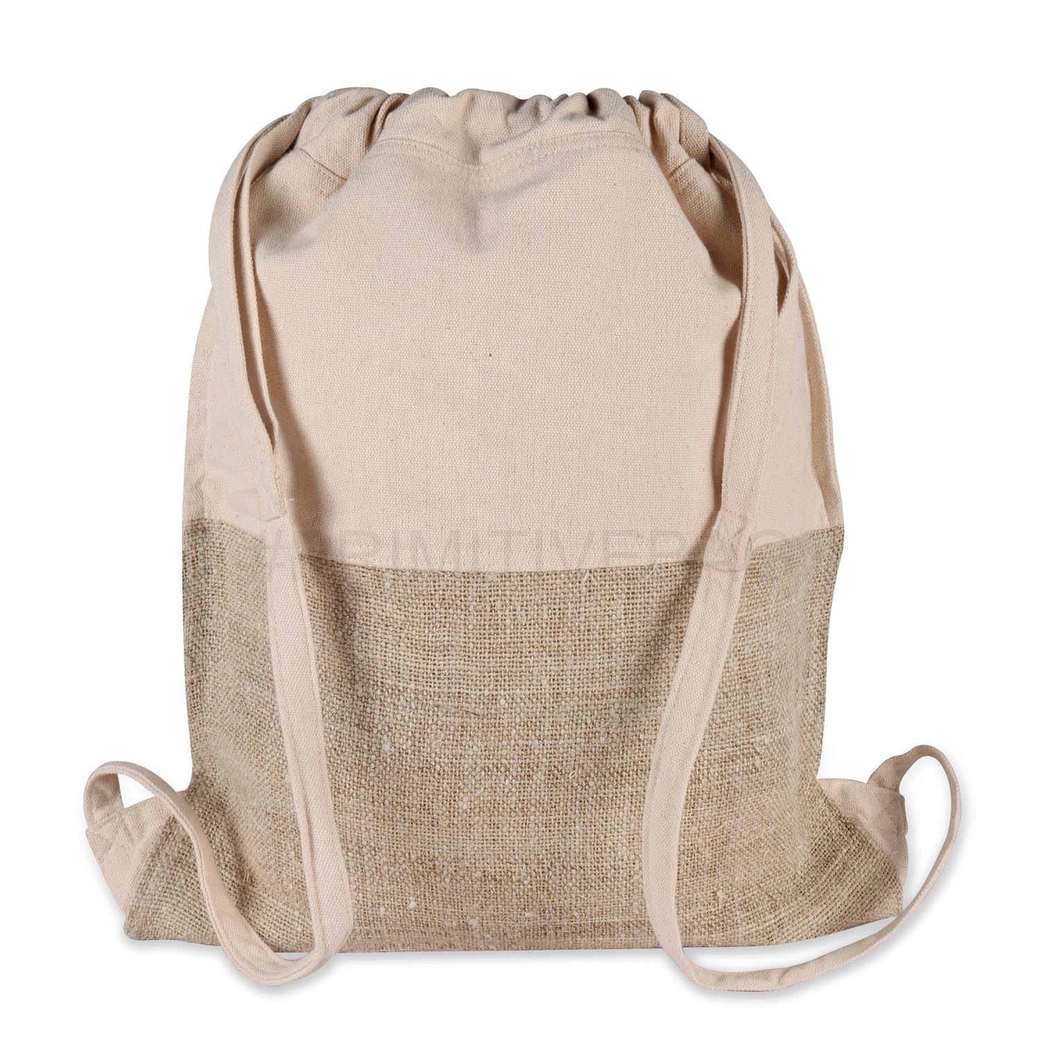 Natural Hemp Cotton combination Backpack Drawstring Closure- Handmade Primitive Hemp Cotton Canvas Handle Lightweight Backpack