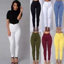 2020 Summer 6 Colors Style Women Denim Skinny Leggings Pants High Waist Stretch Jeans Pencil Trousers Plus Size S-4XL