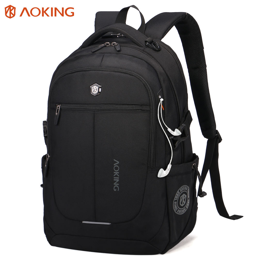 AOKING Durable backbag bag pack men casual Lightweight Waterproof mochilas rucksack 18.5 inch laptop bag black laptop Backpack