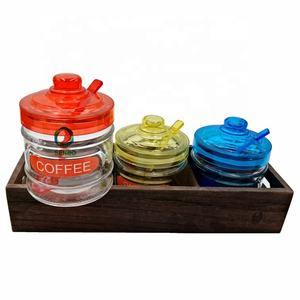 Wholesale Glass Container Popular Tea Coffee Sugar Specias Tea Storage with Spoon Glass Canister / Jar