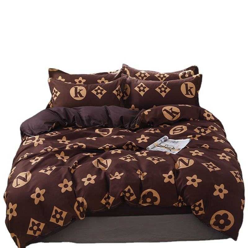 fashion luxury design printed polyester bedding set bed sheet