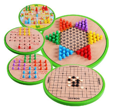 Wooden educational intelligence five in one draughts flying gobang children board game