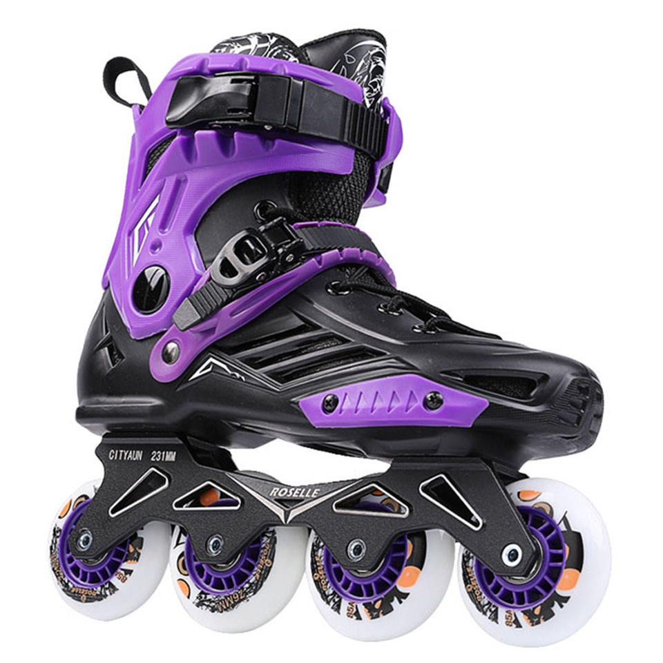 Amazon best seller roller blade 4 rubber LED wheels 2.3mm roller skating flooring inline skates
