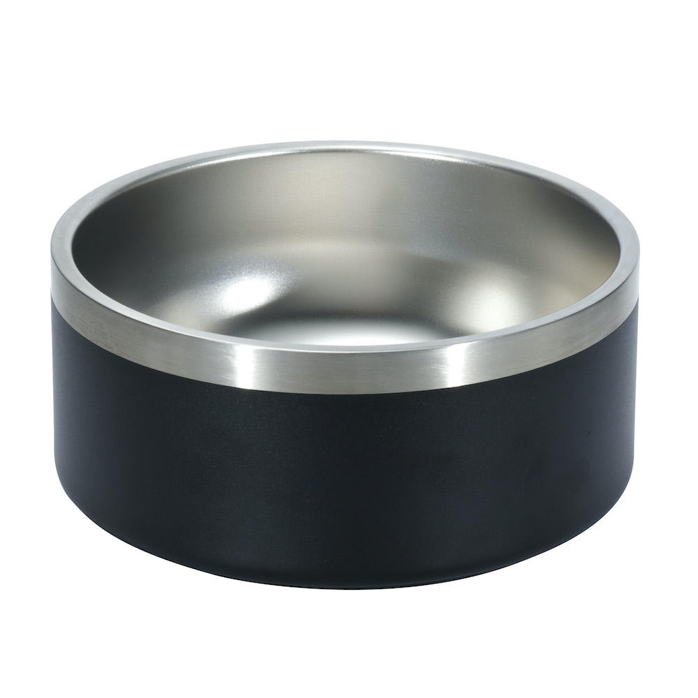 High quality 8 cup Stainless Steel Pet Dog Bowl double wall Dog Cat Pet Feeding Bowl with non slip rubber base
