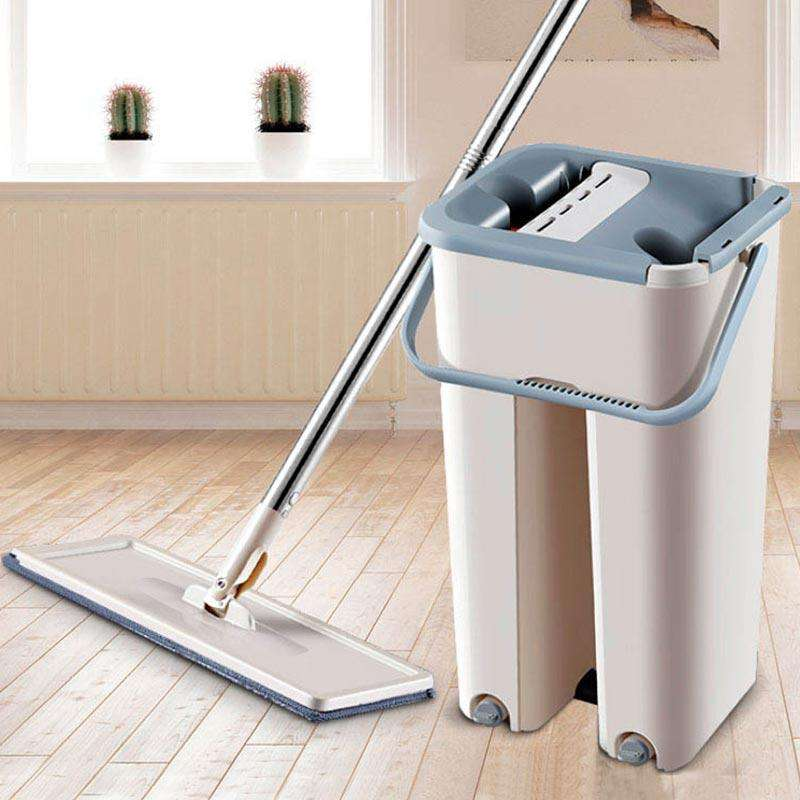 Flat Squeeze Mop Bucket Hand-Free Wringing Floor Cleaning Mop Automatic Spin Self Cleaning Lazy Mop