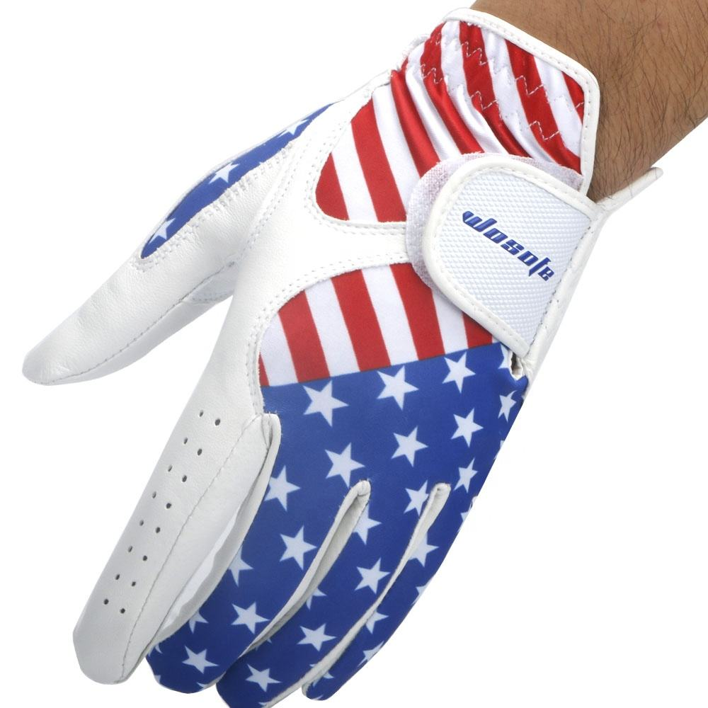 2019 New USA flag glove Men's Left Hand Soft Breathable Cabretta Leather Sports golf glove