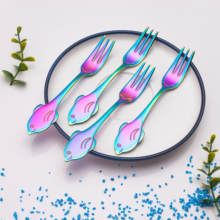 Cute Dolphin globefish whale shape stainless colorful coffee tea spoon and fork set