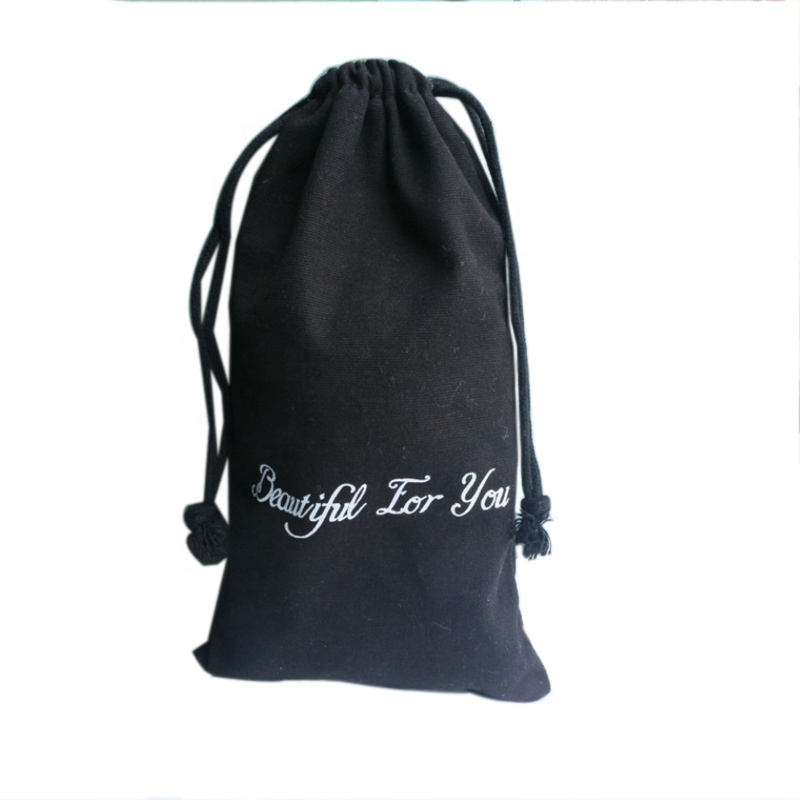 Optimum products Wholesale Black cotton calico drawstring bag for cosmetic