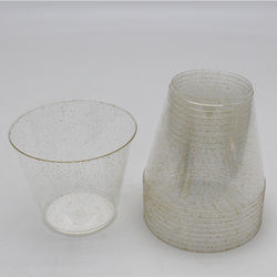 Stylish Simplicity Gold Rimmed Plastic Disposable Clear Cup 1oz