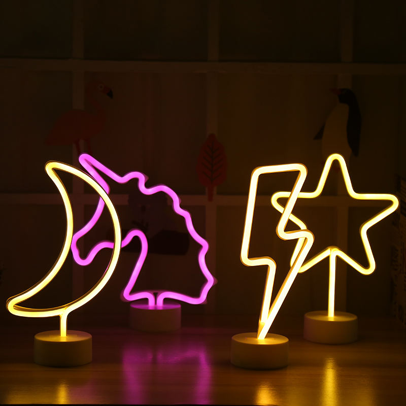 2019 LED unicorn neon light for party decoration led small night light neon flex for bedroom dekoration