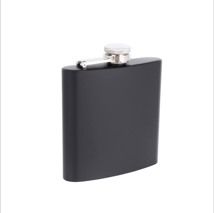 6oz Matte Black Hip Flask Stainless Steel Liquor Whiskey Alcohol Flask