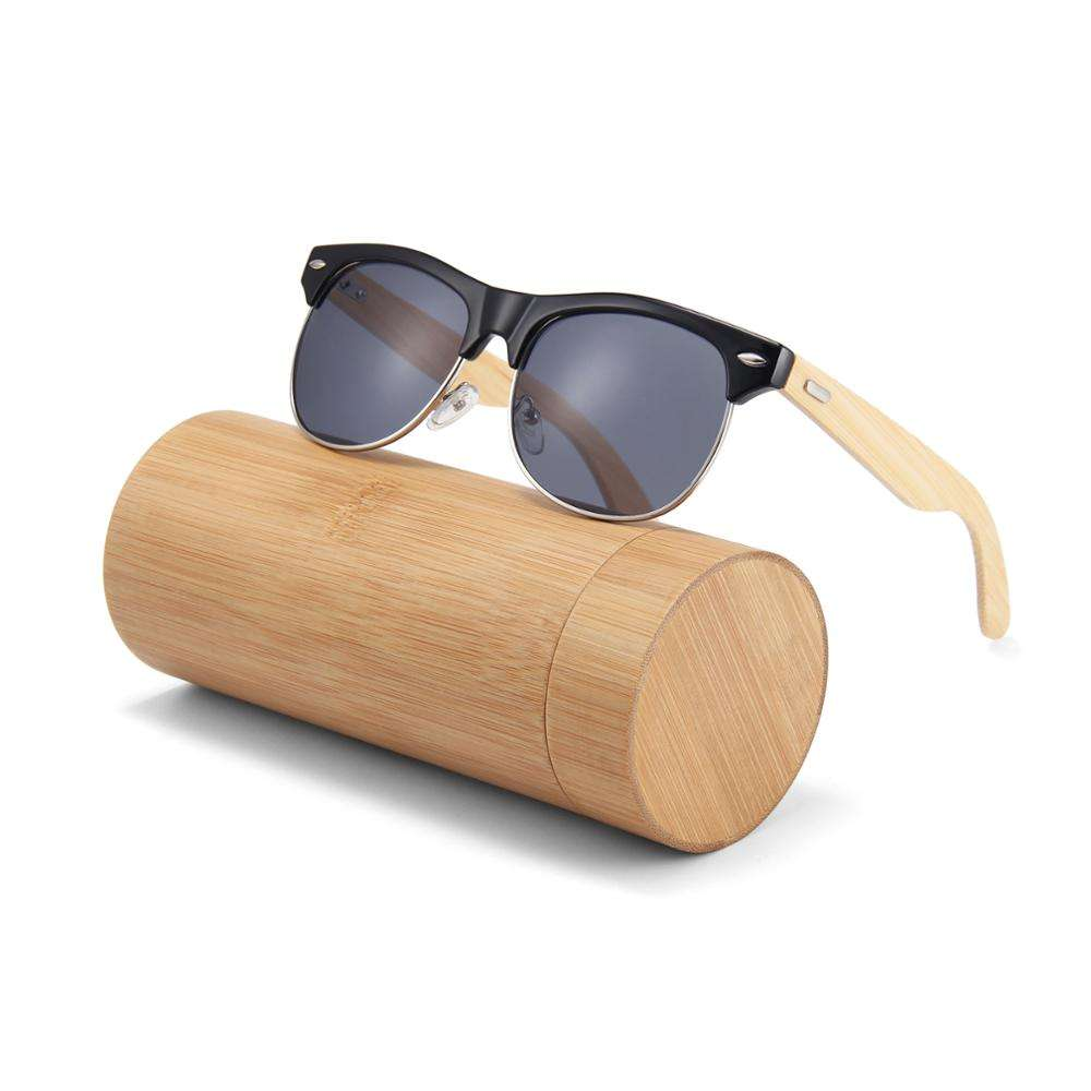 Hot selling handmade framed fashion custom logo wood bamboo uv400 in stock pc lens sunglasses 2020