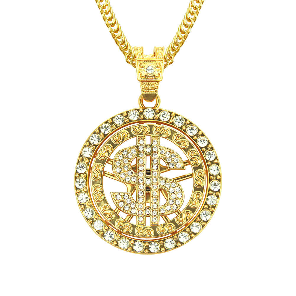 Hip Hop Jewelry Round Alloy Gold Plated Money US Dollars Cubic Zirconia Hip Hop Pendant