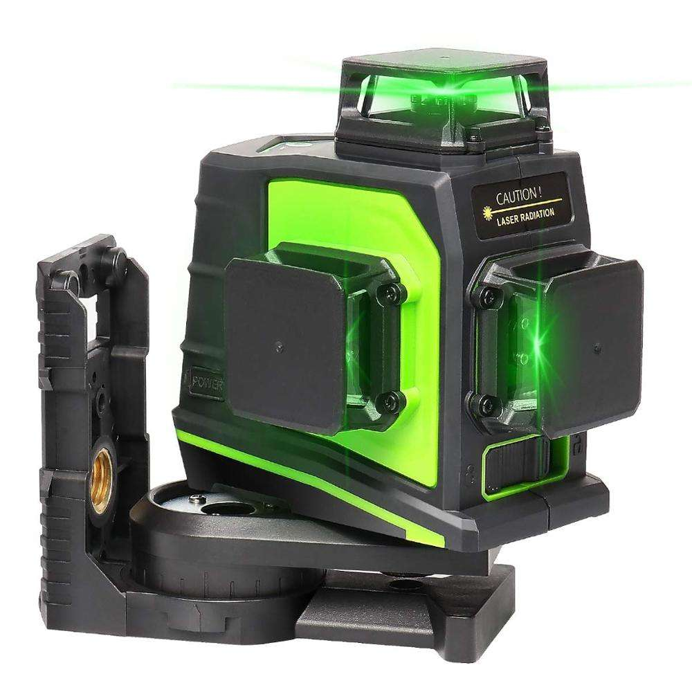 Huepar 3x360 GF360G Self-leveling Laser with Rechargeable lithium battery,Outdoor Pulse Mode Green Beam 3D Laser Level