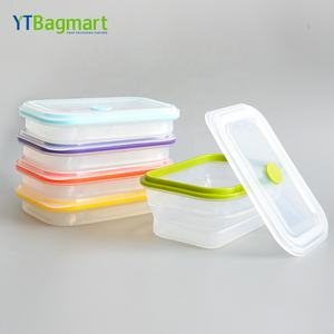 Oven Safe Bpa Free Reusable Platinum Collapsible 100% Silicone Food Containers with Silicone Lid