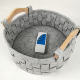 Sundries [ Small Basket ] Durable Circle Small Gray Felt Weaving Toys Food Laundry Storage Basket Bin With Wood Handle