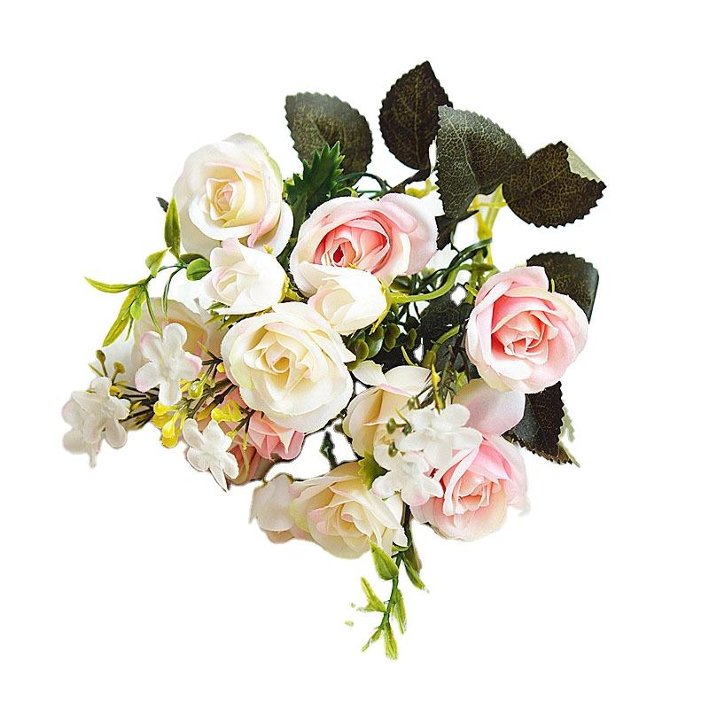Cheap Price silk Plastic Decorative Flowers Rose Wedding Artificial Roses Bunch