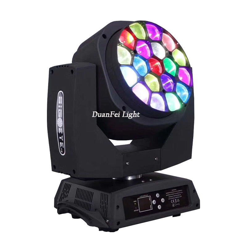 Hot selling wonderful effect lyre led 15w*19 rgbw 4 in 1 fly big bee eyes beam moving head light with zoom light