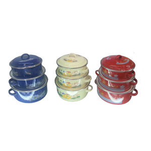 Wholesale Custom Color Enamel Ware Cookware Casserole Set For Kitchen Use