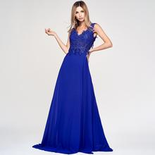 Custom Party Solid Color Sexy Mopping New Fashion Women sleeveless deep V chest Lace embroidery Formal Long dress