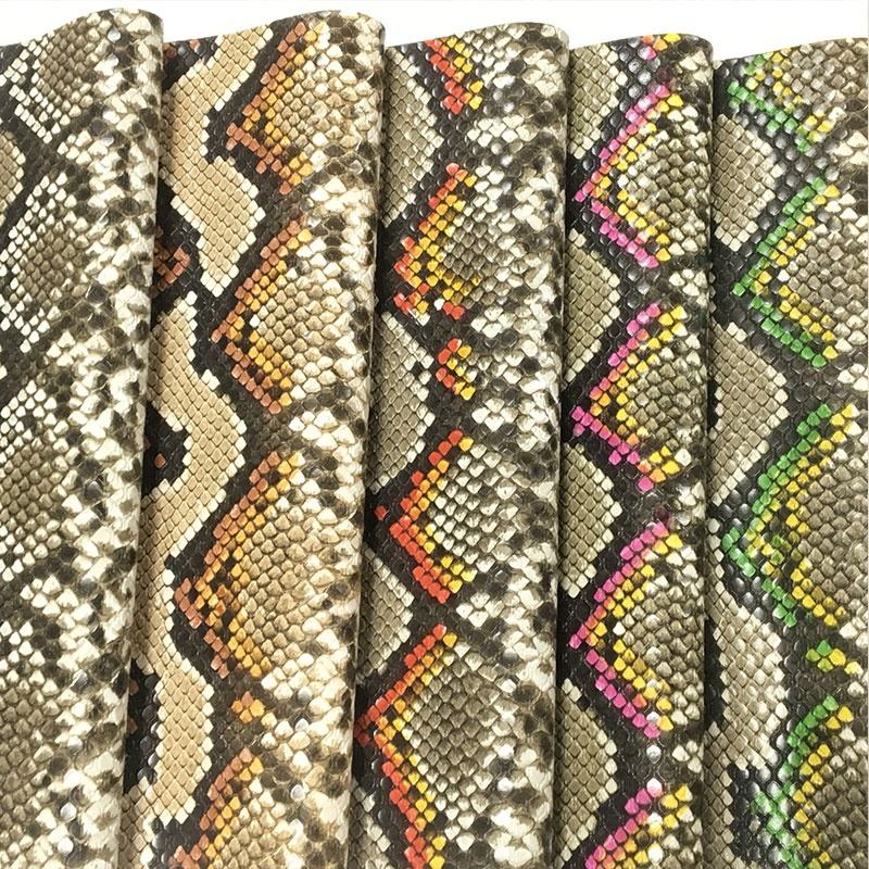 Fashion design embossed snake skin leather faux synthetic fabric for shoes handbags garment