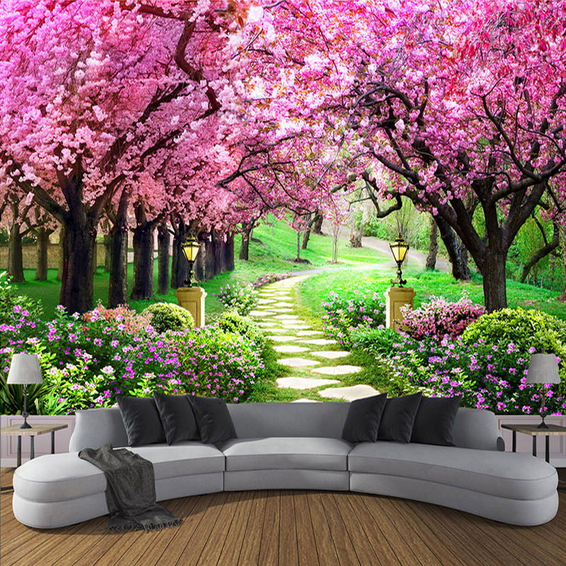 Beautiful wedding pink wall paper landscape decoration background mural