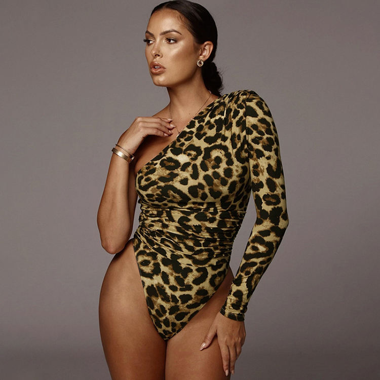 Inclined One Shoulder Single Sleeve Sexy Women Fashion Leopard Print Bodysuits