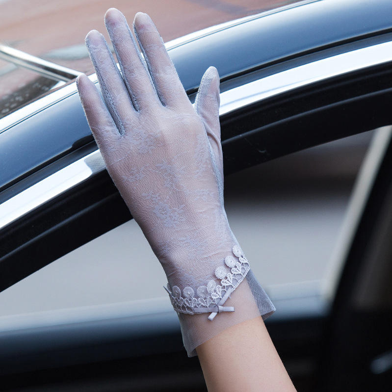 Cotton [ Cotton Gloves ] New Design Summer Bow Ladies Cotton Lace Unlined Anti Ultraviolet Touchscreen Gloves