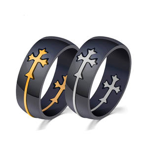 Chengfen jewelry factory direct sale unique fashion black steel engrave ring