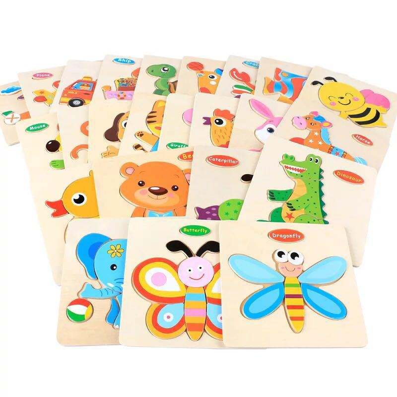 Amazon Hot Selling 3D WoodenPuzzle Cartoon Baby Kids Jigsaw Puzzle Toys Educational Wooden Puzzle