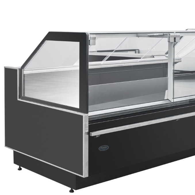 Orthogonal refrigerated cabinet/cooked food display freezer/Vertical glass commercial showcase for deli