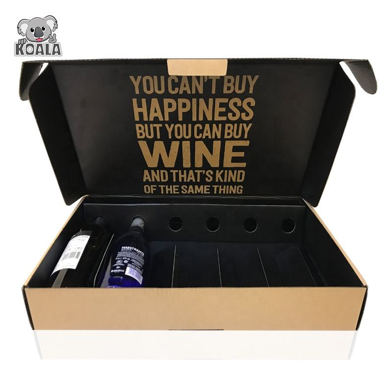 Custom Foldable Corrugated Cardboard Packaging Cheap 6 Bottle Wine Box