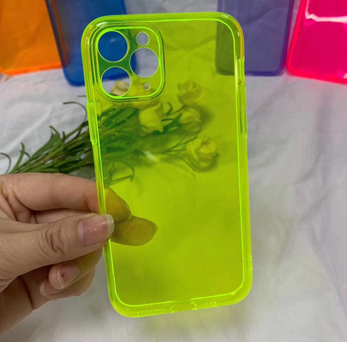 For iphone 11 clear phone case custom logo, for iphone fluorescent light casing