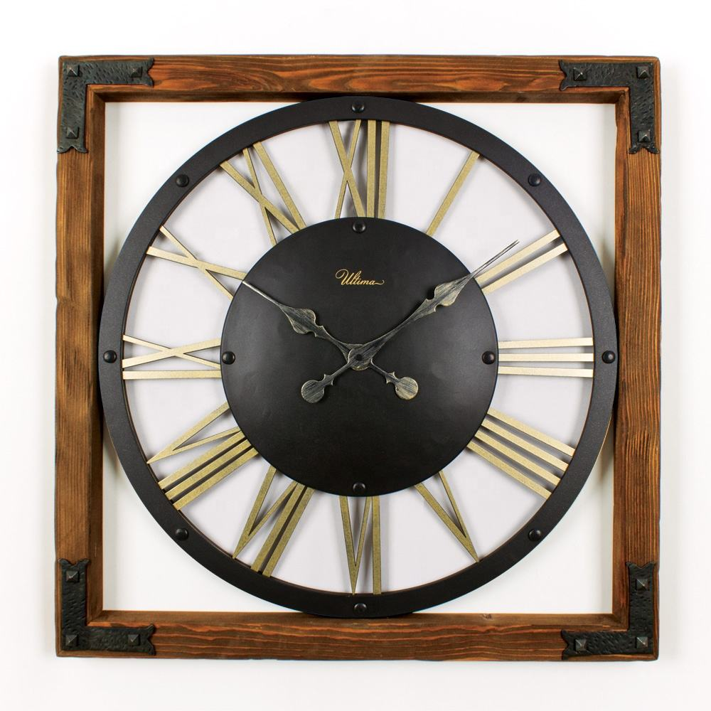 Massive Wood & Metal Antique Decorative Wall Clock